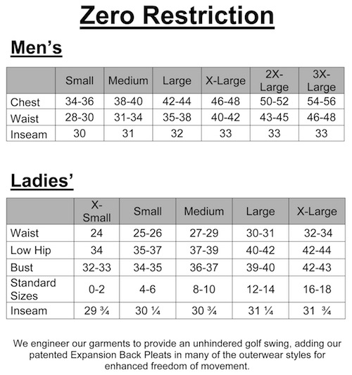 mens zero restriction size chart