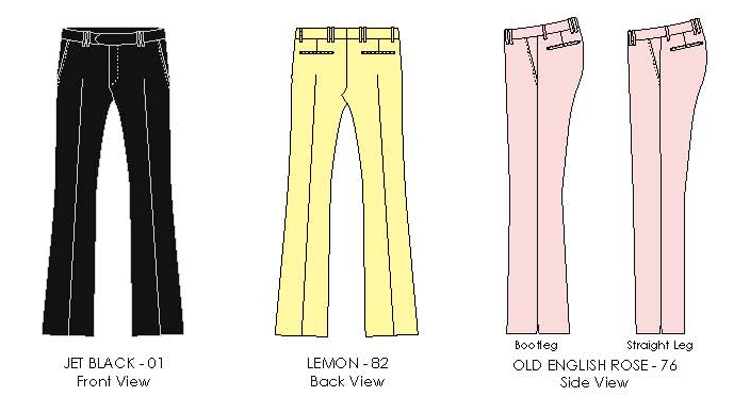 black, lemon, rose colored mens trousers