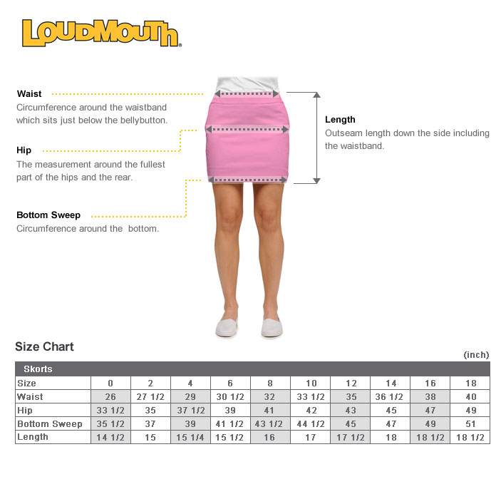 Loudmouth Golf for women size chart